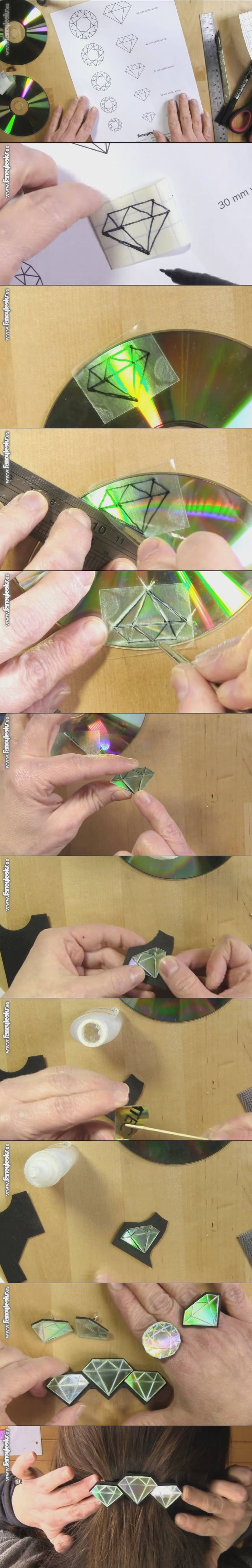 DIY: using CD's to make hair accessories; rings & so many other decorative uses.