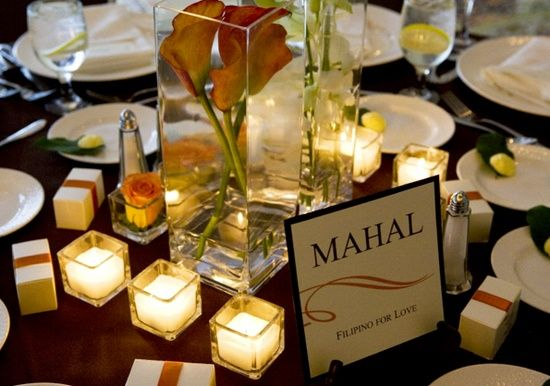 Instead of table numbers. Tables will have words such as Mahal (love in English), Tiwala (trust), Ligaya (happiness) to incorporate my heritage