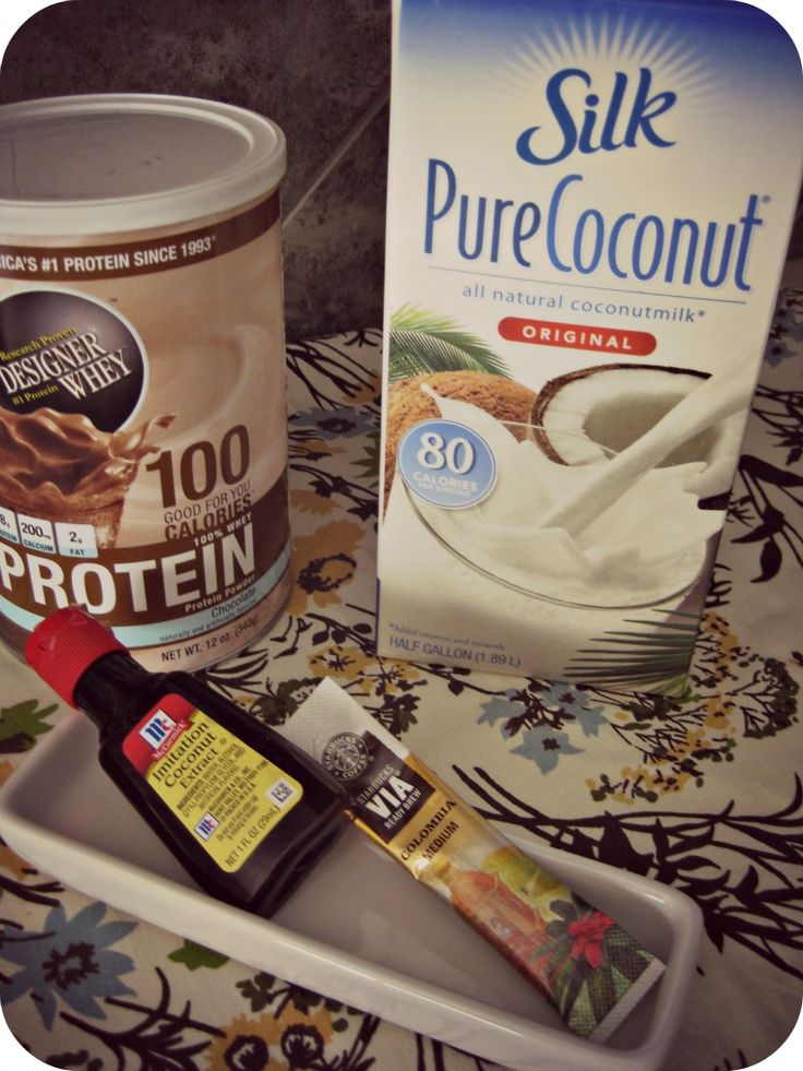 Mocha Coconut Protein Shake ♦ 1 scoop Chocolate whey protein powder (I use Designer Whey) ♦ 1 cup of Original Coconut Milk (You can also use Vanilla Coconut Milk) ♦ 1 packet of instant coffee (I use Starbucks Via: Columbia) ♦ Optional: 1/2 tsp (or to taste) Coconut Extract ♦ Ice Put all ingredients in a blender. Mix and enjoy!