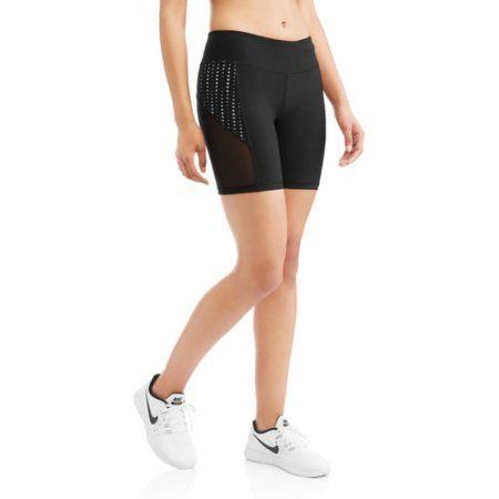 N.Y.L. Sport Women's Performance Bike Short with Contrast Lasercut Insert, Size: Medium, Gray