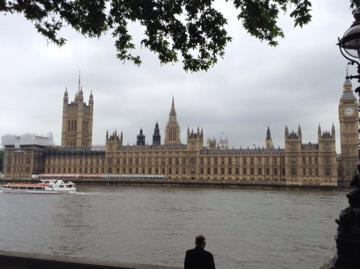 The Houses of Parliament and the Elizabeth Tower (the bell in Elizabeth Tower is Big Ben).