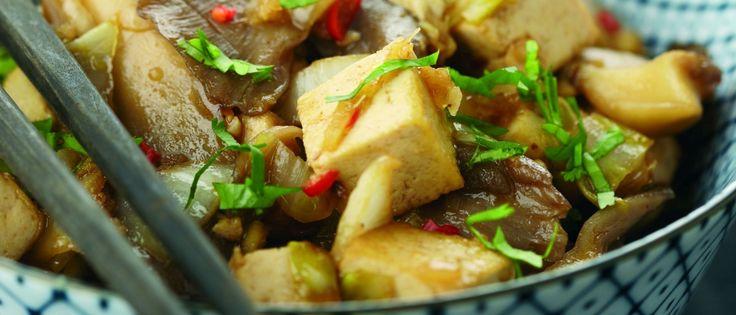 Oosters gewokte tofu met oesterzwammen en witlof   Donderdag Veggiedag