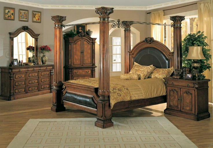 Classic Roman Empire Bed Frame Antique Bedroom Furniture