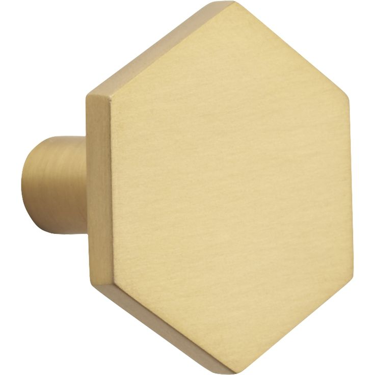 Shop hex brushed brass drawer pull.   Popular in bathrooms and kitchens, the hexagon adds a sophisticated graphic element to doors and drawers.   Handmade of solid brushed brass, knobs up the design factor of existing cabinets.
