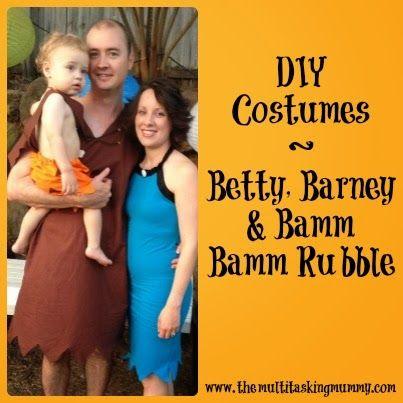 DIY Barney, Betty & Bamm Bamm Rubble Costumes #MummyMondays | The Multitasking Mummy