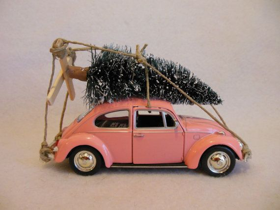 Classic Pink VW Beetle Bug with CHRISTMAS TREE ~ Toy Car ...