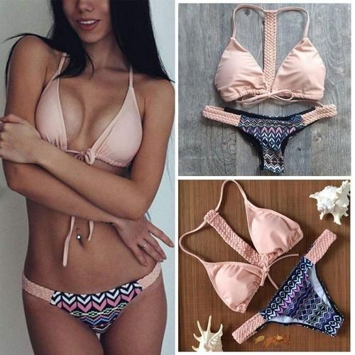 Soft Pink Tribal 2pc Bikini Swimsuit
