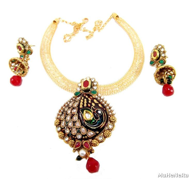 GOLD PLATED PEACOCK STYLE PEARL KUNDAN NECKLACE SET from www.muhenera.com