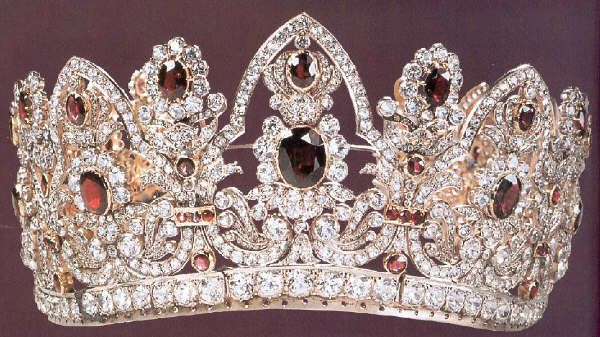 Empress Marie Louise of France's Bridal Crown. ...... (This tiara was later remodeled, and the source suggests it was remodeled into the famous emerald crown which was then purchased by Van Cleef & Arpels, reset with turquoise and is now part of the Smithsonian Collection. (Can someone confirm this is the *same/source* crown?)