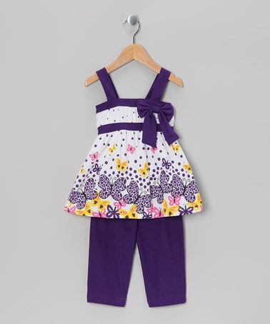 Take a look at this Purple Butterfly Tunic & Capri Leggings - Infant, Toddler & Girls by G Relations on #zulily today!