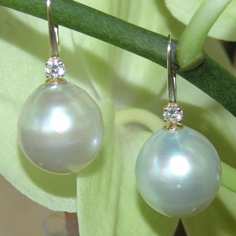 Designs By Georgina 16mm South Sea Pearls Set 14ct Yellow Gold With 0 20pt White Diamonds