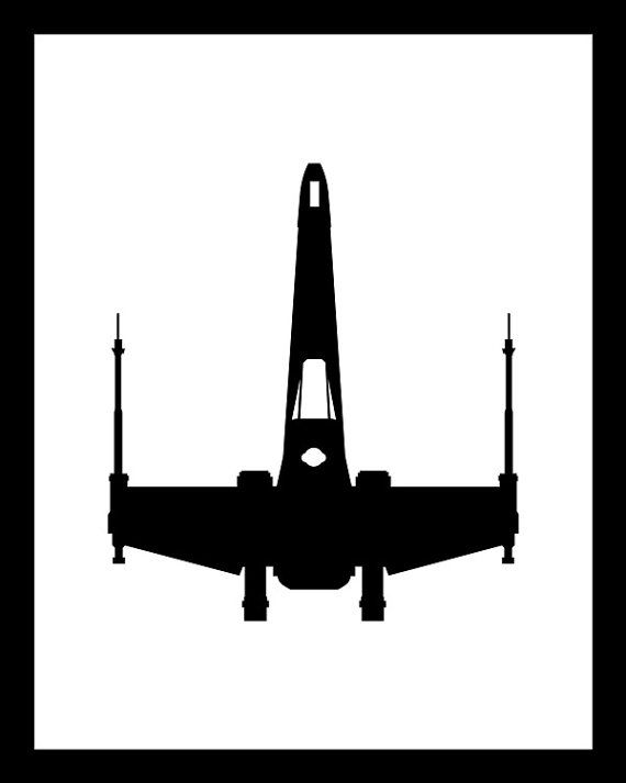 8x10, 11x14 or 16x20 Poster Print Star Wars Black and White Minimalist Design. X-Wing Fighter, flown by Luke Skywalker in the original trilogy. Printed on