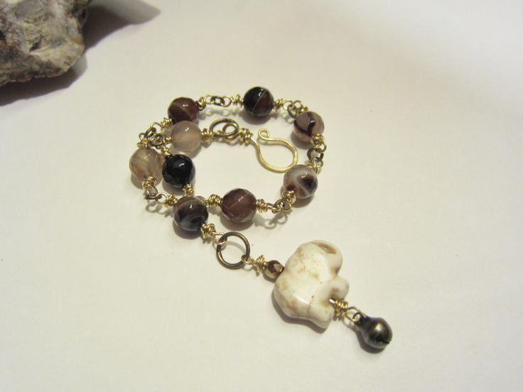 Earthy Mix, Brown Beaded Bracelet, Rustic, Elephant Good Luck Talisman Bracelet, Emelda #779 by JudysTreehouse on Etsy