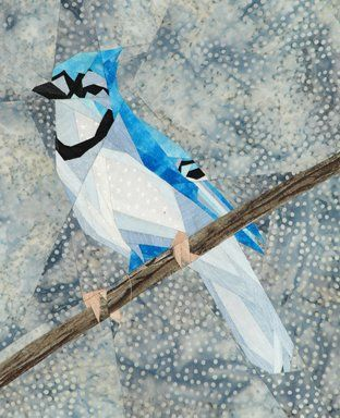 """Wee Bluejay"" offered by silverliningsoriginals.com/qc - paper pieced bird pattern - kit for sale"