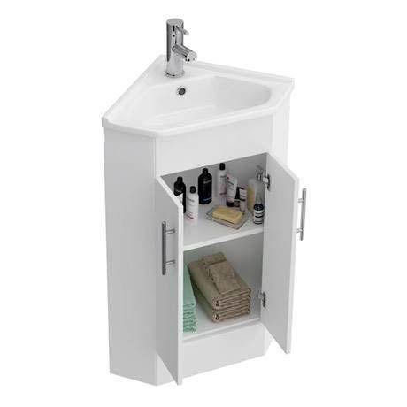 Alaska High Gloss White Corner Cabinet Vanity Unit With Ceramic Basin White Corner Cabinet Small Bathroom Redo Vanity Units