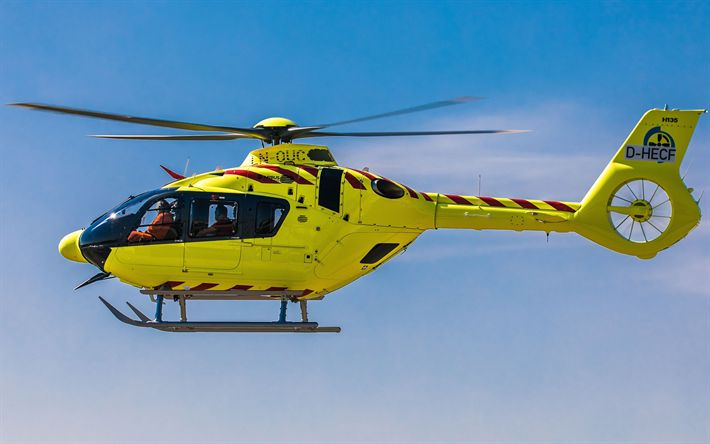 Download wallpapers Airbus H135, 4k, yellow helicopter, civil aviation, Eurocopter EC135, Airbus
