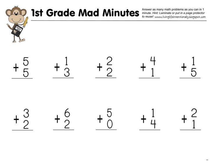 Mad Minute 1st Grade Pdf Homeschooling Pinterest