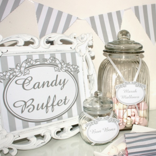 Satin Ribbon Candy Buffet, bunting, jar labels, striped candy bags & candy buffet sign included buy @ stylemyparty.co.uk