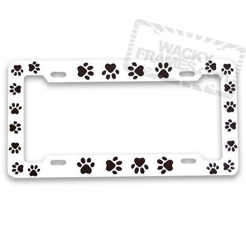 metal paw print license plate frame wackyframescom