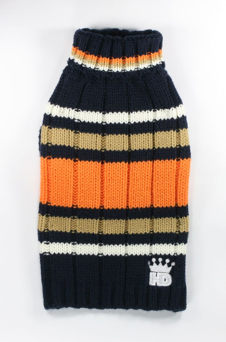Shop where every purchase helps shelter pets! Hip Doggie Navy Turtleneck Dog Sweater - Navy/Orange - from $31.95