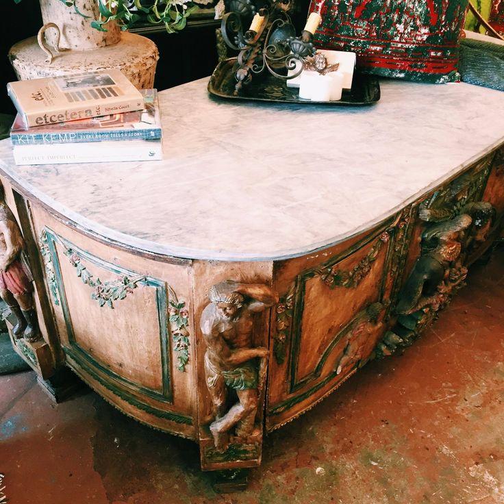 Gorgeous old marble top writing desk, a statement piece at its true finest #writingdesk #antique #original #old #vintage #furniture #antiquefurniture #antiquehomewares #rustichome #rustavalon #interiors #interiordesigner #wellwornfurniture #homedecor #home