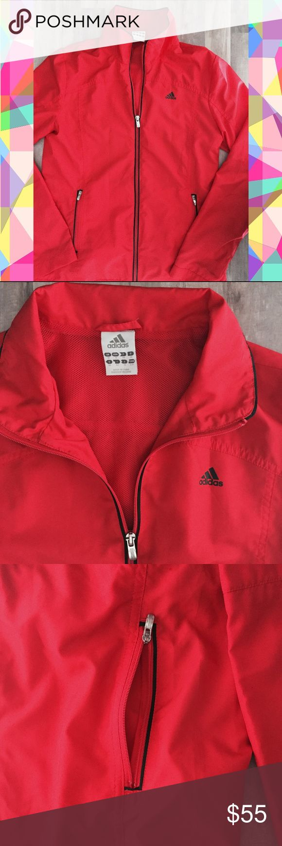 Adidas Red Windbreaker Jacket Excellent used condition and beautiful red color Adidas jacket. Features two side pockets, zips all the way up, Adidas logo in black and silver hardware. Comfy and so stylish! 😍 Adidas Jackets & Coats