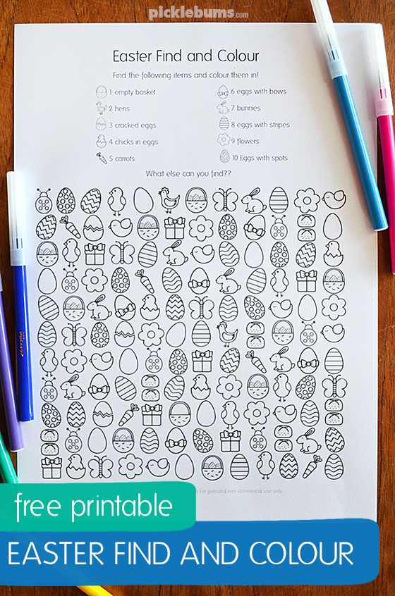 Free Printable Easter Find and Colour Activity – Picklebums   – CWK Daycamp Ideas