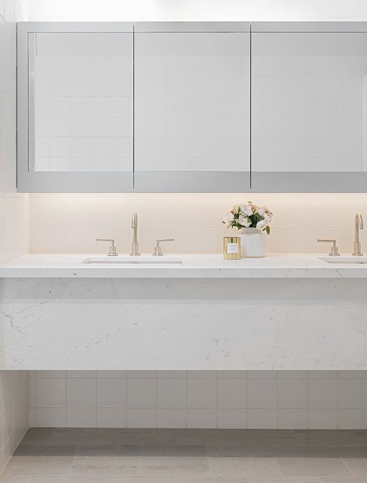 Elba marble bathroom vanity, Ida Apartments.