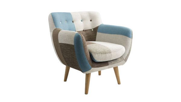 Bergman armchair in Patchwork fab, Home Furniture - Chairs - Arm Chairs