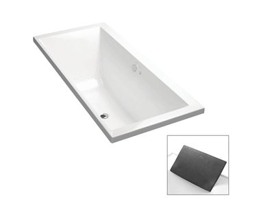 Evok Rectangular Freestanding BubbleMassage Bath  Features    Freestanding acrylic bath (fully reinforced)  Multiple air holes releasing tiny bubbles  Easy installation using drop-in base support and adjustable feet  Optional Accessory: Evok bath pillow in charcoal    Included Components:    40mm chrome pop-up waste and overflow