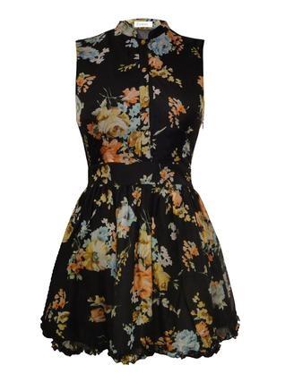 Černé květinové šaty Fount s límečkem 1