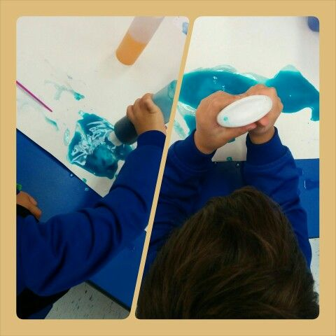 Experiments with watercolours and white glue. #reggioemiliaapproach #sensory #art #daycare #garderie #Montreal
