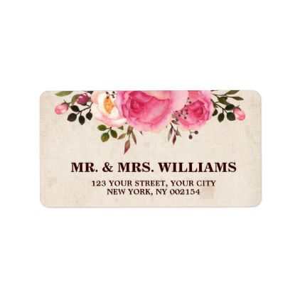 Rustic Country Floral Return Address Label - autumn wedding diy marriage party personlize idea