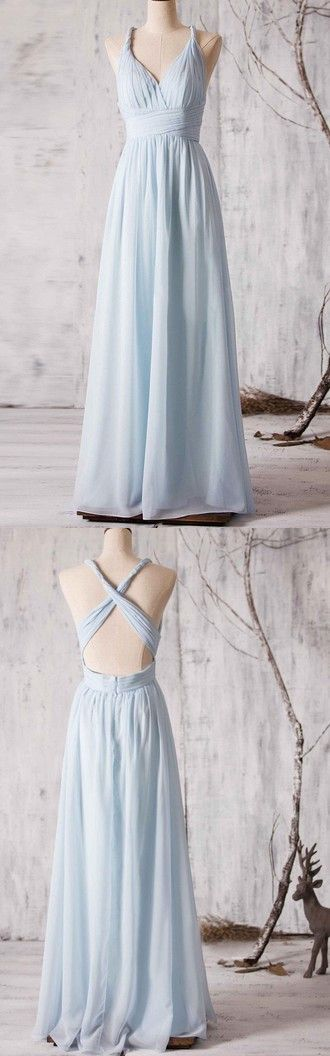 2017 bridesmaid dress, long bridesmaid dress, chiffon bridesmaid dress, sky blue bridesmaid dress