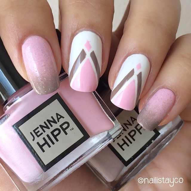 """""""Hi again! This is the mani that I did for Niss' birthday collab. I love pink and brown together so it was very easy for me to choose this mani I…"""""""
