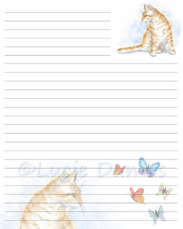 Digital Printable Journal Page Stationary 8x10 JPG Download lined Paper Cat 616 butterfly Template art painting Lucie Dumas by DigitalsbyLucie on Etsy