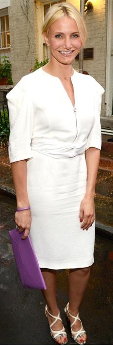 White dress, purple clutch handbag