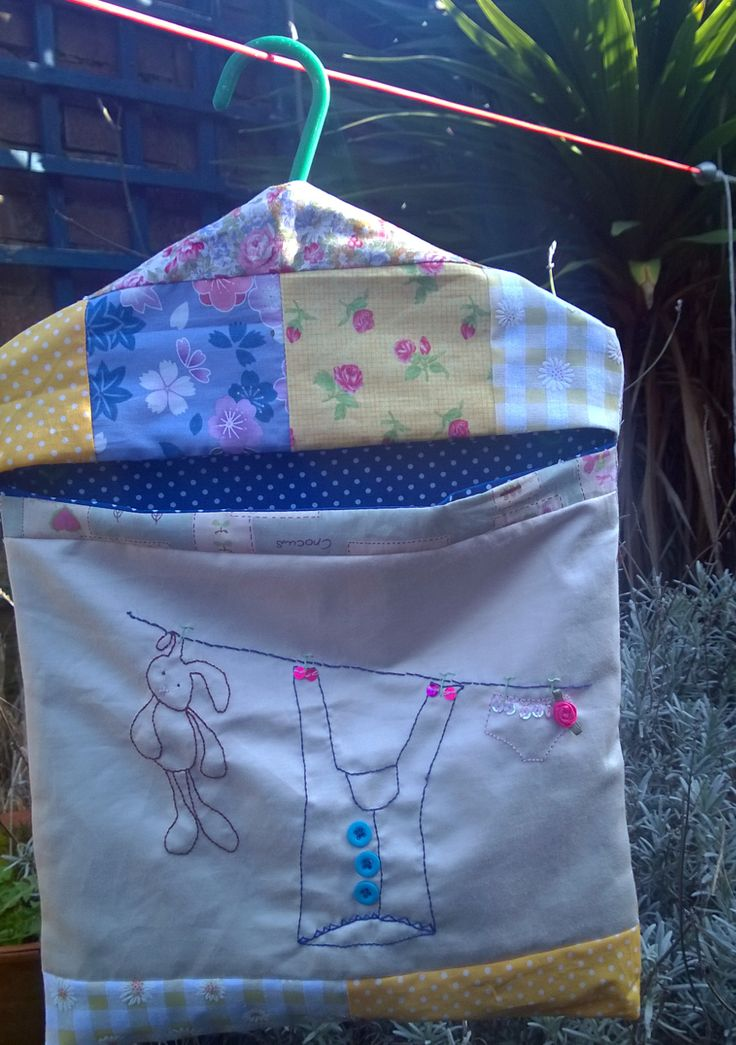 Pretty little hand embroidered peg bag.  Its first spring outing never fails to please,
