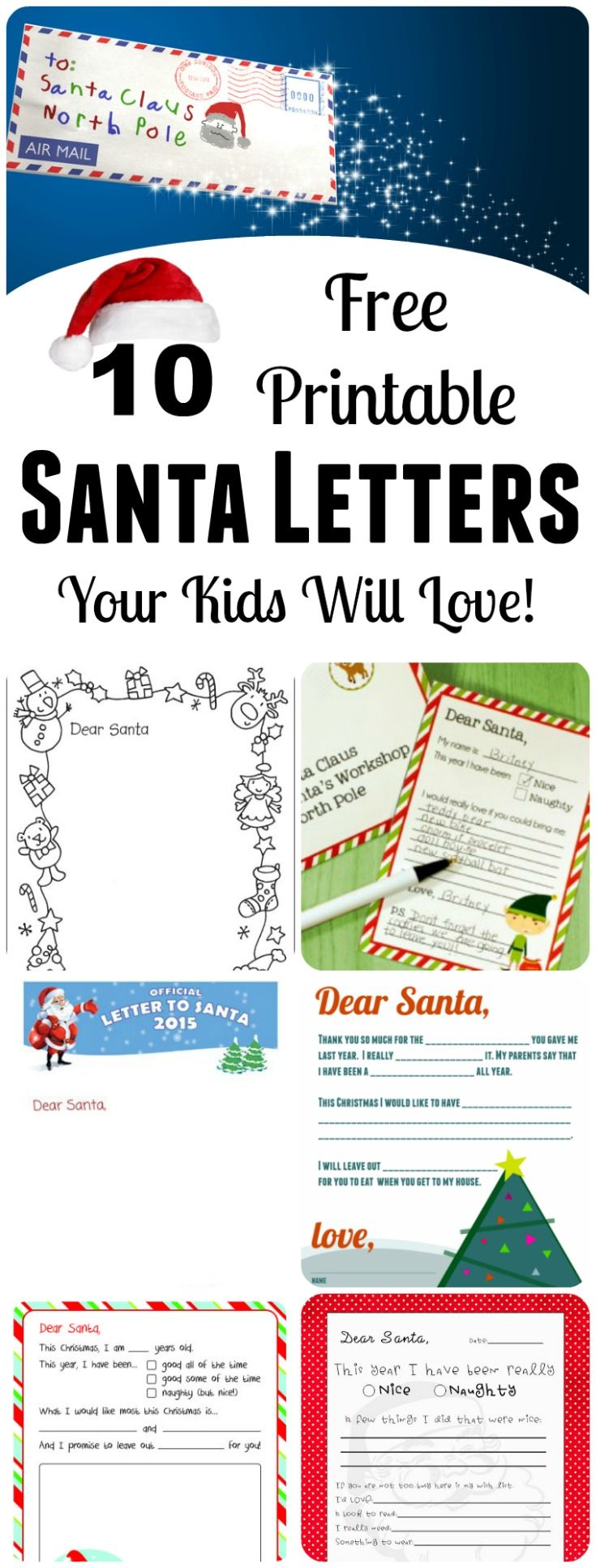 Free Santa Letters! 10 Free Printable Templates for those Letters to Santa your little ones will soon be writing! Make it easy for them...give them one of these!