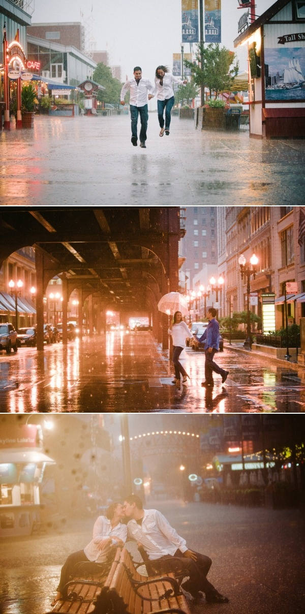 love these engagement photos in the rain.