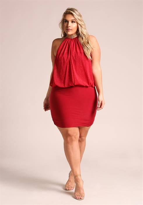 $39.95--3x--Red--Plus Size Shimmer Layered Neck Chain Bodycon Dress