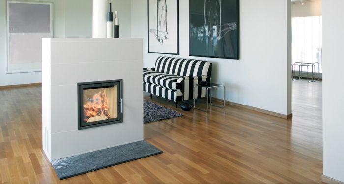 Peis Nordpeis Jersey frittstående med gjennomsyn til flammene.
