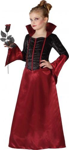 Questo elegante  vestito da vampiro per bambina è composto da un abito lungo color bordeaux in un bel tessuto satinato. Questo travestimento sarà perfetto in occasione della festa di Halloween o per serate a tema.