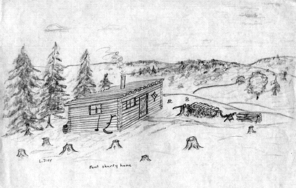 Sketch by Louis Tivy of the Leveridge shanty.