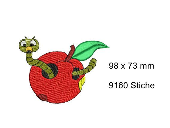 1 Design Worm in the apple Inches: 3,86 x 2,87, 9160 Stitchs  You will receive 1 embroidery design as shown. 1 PDF stitch sequence  Instant