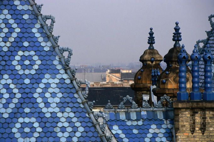 Zsolnay tiles on the roof of the Geological Institute of Budapest.