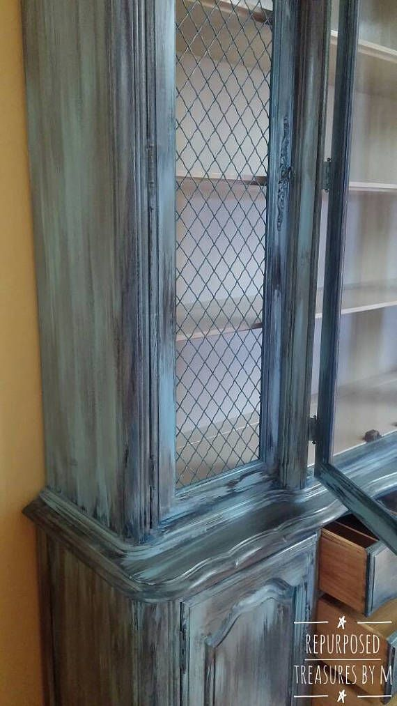 Vintage china cabinet, beachy hutch, shabby chic china cabinet, distressed hutch, queen anne hutch, painted china cabinet, painted hutch  This is perfect for that beachy cottage and would match many colors! China cabinet is painted in many colors including turquoise, teal, blue, brown,