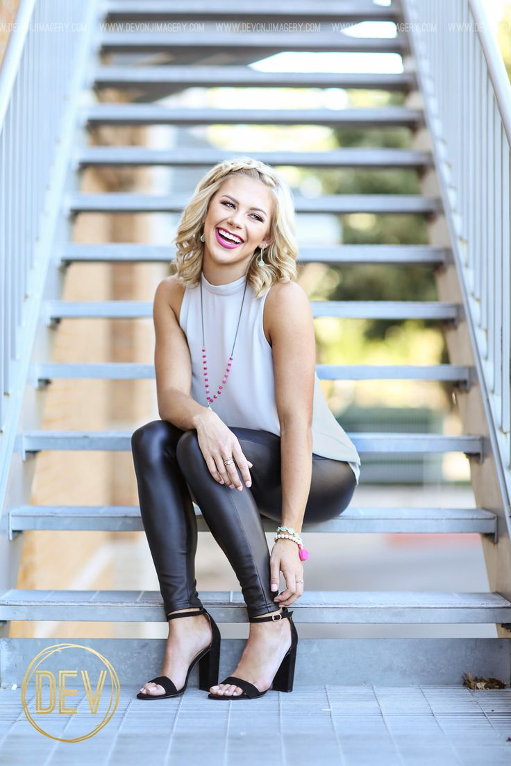 Senior picture portrait ideas sitting staircase fire escape downtown urban sitting pose laughing leather leggings www.devonjimagery... Devon J. Imagery 2016 Wichita Falls, Texas