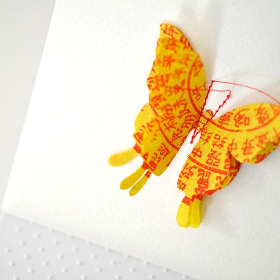 Stitched Yellow Butterfly Card | Collage Card | Pop Up 3D Butterfly Card | Be My Valentine Card