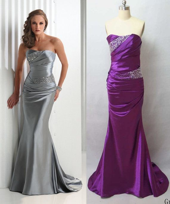 Bridesmaids Silver Purple Long Satin Beaded Formal By